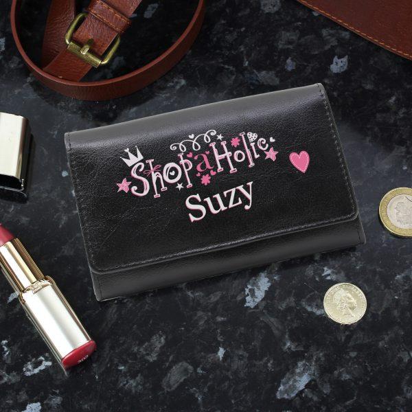Personalised Black Shopaholic Purse