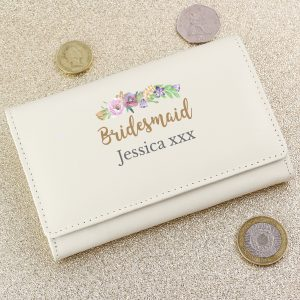 Personalised Floral Watercolour Cream Purse
