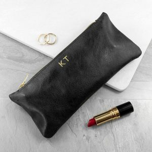 Luxury Slimline Leather Clutch in Black