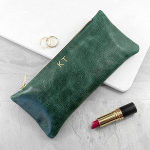 Luxury Slimline Leather Clutch in Bottle Green
