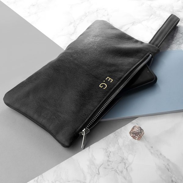 Monogrammed Black Leather Clutch Bag