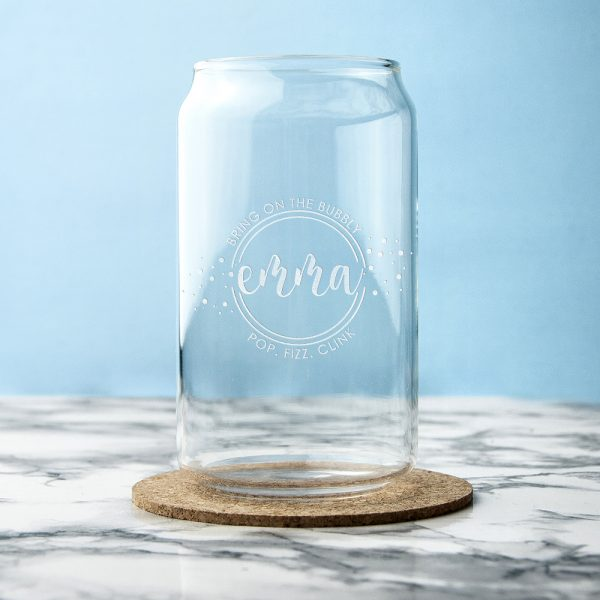 Personalised Bring on the Bubbly Can Glass