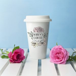 Personalised Hands Off Travel Mug