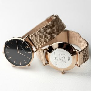 Personalised Rose Gold Watch with Black Dial