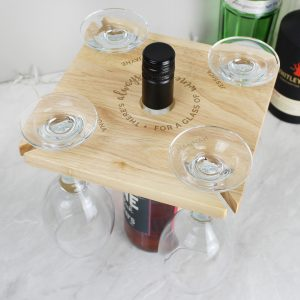Personalised...Time For a Glass of Wine Four Wine Glass Holder & Bottle Butler