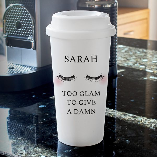 Personalised Pink Name Island Travel Mug