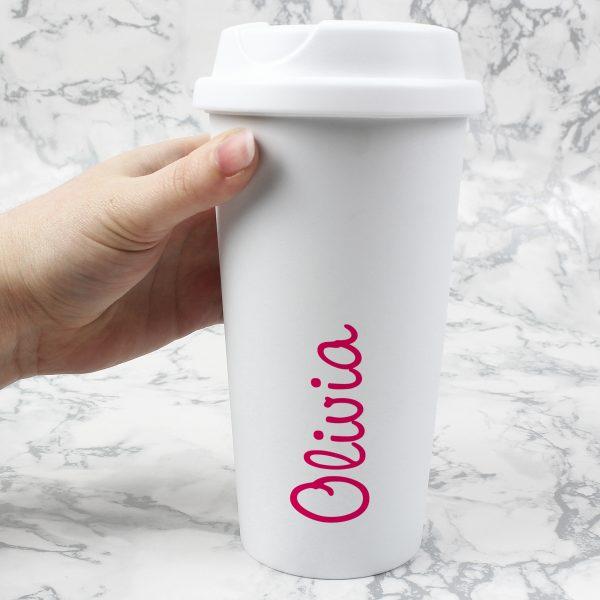 Personalised Pink Name Island Travel Mug