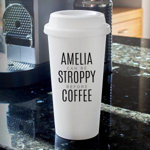 Personalised Black Text Slogan Travel Mug