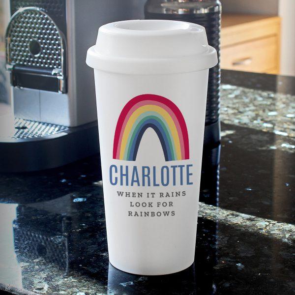 Personalised Rainbow Double walled Travel Mug