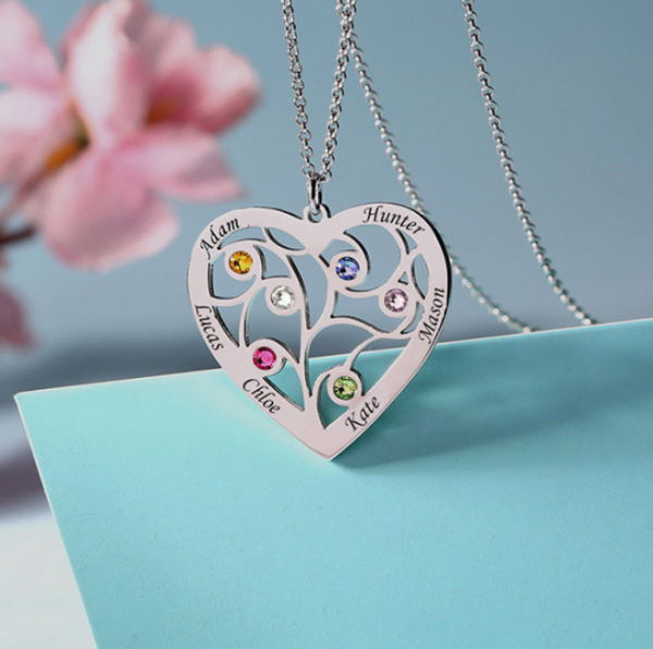 Family Tree Heart Birthstone Personalised Necklace