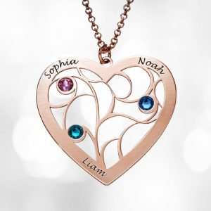 family tree birthstone rose gold