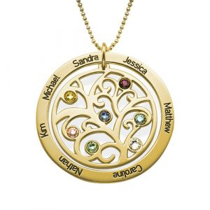 Gold Personalised Family Tree Necklace
