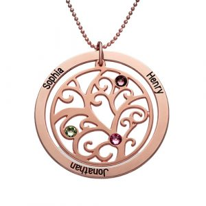 Personalised Rose Gold Family Tree Necklace