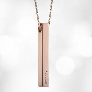 Rose Gold 3D Bar Engraved Necklace
