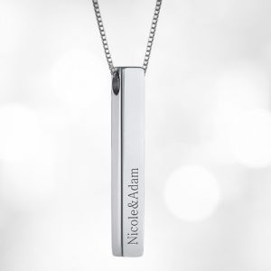 Personalised 3D Engraved Bar Necklace