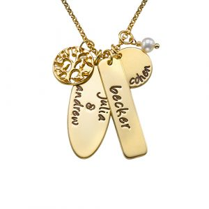 Gold Engraved Family Tree Necklace