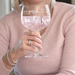Heart Crystal Cut Gin Glass