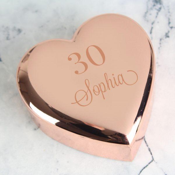 Personalised Big Age Rose Gold Heart Trinket Box