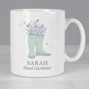 Personalised Floral Wellies Mug