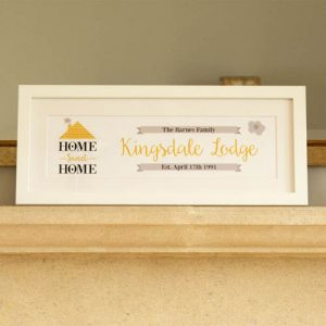 Home Sweet Home Personalised Frame: Gold
