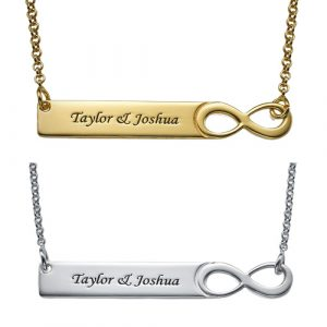 Engraved Infinity Bar Necklace