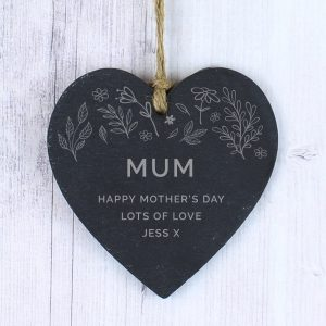 Personalised Floral Slate Heart Decoration