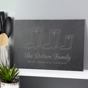 Personalised Welly Boot Family Slate