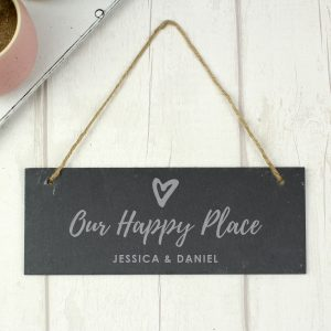 Personalised Our Happy Place Hanging Slate Plaque