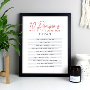Personalised 10 Reasons Why I Love You Framed Print