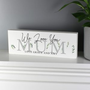 Personalised Botanical Wooden Block Sign